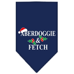 Mirage Pet Products Aberdoggie Christmas Screen Print Bandana Navy Blue Small
