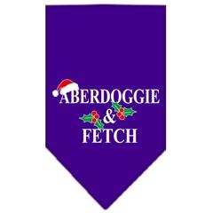 Mirage Pet Products Aberdoggie Christmas Screen Print Bandana Purple Large