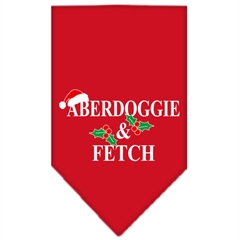Mirage Pet Products Aberdoggie Christmas Screen Print Bandana Red Large