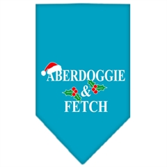 Mirage Pet Products Aberdoggie Christmas Screen Print Bandana Turquoise Large