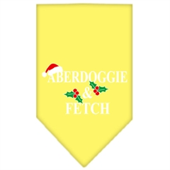 Mirage Pet Products Aberdoggie Christmas Screen Print Bandana Yellow Large
