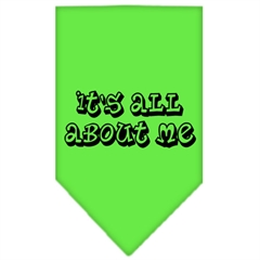 Mirage Pet Products It's All About Me Screen Print Bandana Lime Green Large