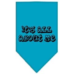 Mirage Pet Products It's All About Me Screen Print Bandana Turquoise Small