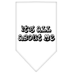 Mirage Pet Products It's All About Me Screen Print Bandana White Large