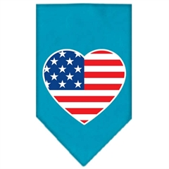 Mirage Pet Products American Flag Heart Screen Print Bandana Turquoise Small