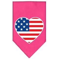 Mirage Pet Products American Flag Heart Screen Print Bandana Bright Pink Large