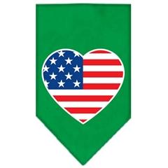 Mirage Pet Products American Flag Heart Screen Print Bandana Emerald Green Small
