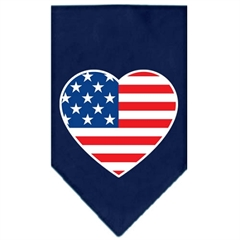 Mirage Pet Products American Flag Heart Screen Print Bandana Navy Blue Small