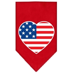 Mirage Pet Products American Flag Heart Screen Print Bandana Red Small