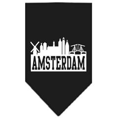 Mirage Pet Products Amsterdam Skyline Screen Print Bandana Black Large