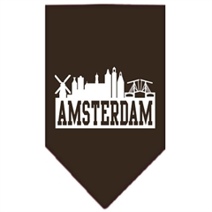 Mirage Pet Products Amsterdam Skyline Screen Print Bandana Cocoa Large