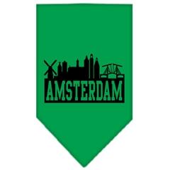 Mirage Pet Products Amsterdam Skyline Screen Print Bandana Emerald Green Large