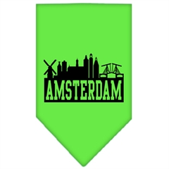 Mirage Pet Products Amsterdam Skyline Screen Print Bandana Lime Green Small