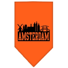 Mirage Pet Products Amsterdam Skyline Screen Print Bandana Orange Small