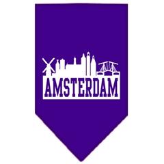 Mirage Pet Products Amsterdam Skyline Screen Print Bandana Purple Small