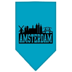 Mirage Pet Products Amsterdam Skyline Screen Print Bandana Turquoise Small