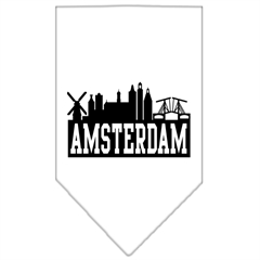 Mirage Pet Products Amsterdam Skyline Screen Print Bandana White Small