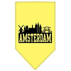 Mirage Pet Products Amsterdam Skyline Screen Print Bandana Yellow Large