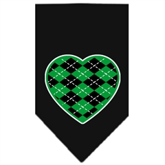 Mirage Pet Products Argyle Heart Green Screen Print Bandana Black Small