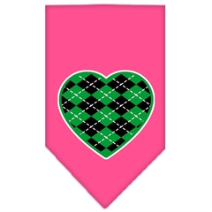 Mirage Pet Products Argyle Heart Green Screen Print Bandana Bright Pink Large