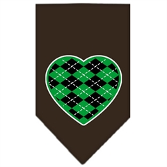 Mirage Pet Products Argyle Heart Green Screen Print Bandana Cocoa Small