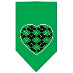 Mirage Pet Products Argyle Heart Green Screen Print Bandana Emerald Green Large