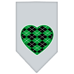 Mirage Pet Products Argyle Heart Green Screen Print Bandana Grey Small