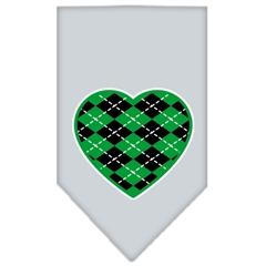 Mirage Pet Products Argyle Heart Green Screen Print Bandana Grey Large