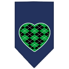 Mirage Pet Products Argyle Heart Green Screen Print Bandana Navy Blue Small