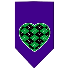 Mirage Pet Products Argyle Heart Green Screen Print Bandana Purple Large