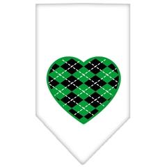 Mirage Pet Products Argyle Heart Green Screen Print Bandana White Large