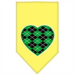 Mirage Pet Products Argyle Heart Green Screen Print Bandana Yellow Large
