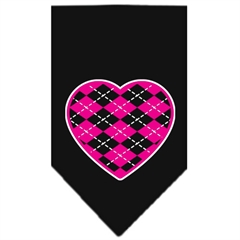 Mirage Pet Products Argyle Heart Pink Screen Print Bandana Black Small