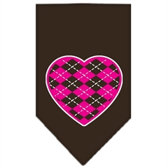 Mirage Pet Products Argyle Paw Pink Screen Print Bandana Cocoa Large