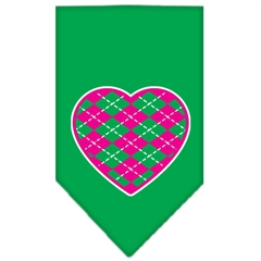 Mirage Pet Products Argyle Heart Pink Screen Print Bandana Emerald Green Small