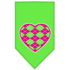 Mirage Pet Products Argyle Heart Pink Screen Print Bandana Lime Green Large