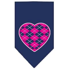 Mirage Pet Products Argyle Heart Pink Screen Print Bandana Navy Blue large