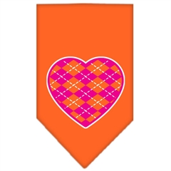 Mirage Pet Products Argyle Heart Pink Screen Print Bandana Orange Large