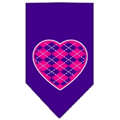 Mirage Pet Products Argyle Heart Pink Screen Print Bandana Purple Large