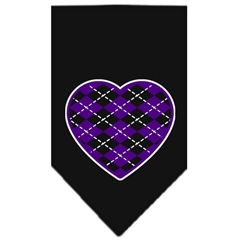 Mirage Pet Products Argyle Heart Purple Screen Print Bandana Black Small