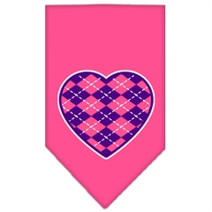 Mirage Pet Products Argyle Heart Purple Screen Print Bandana Bright Pink Large