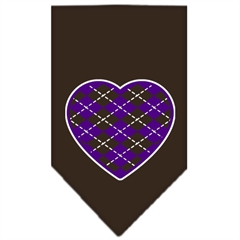 Mirage Pet Products Argyle Heart Purple Screen Print Bandana Cocoa Small