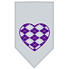 Mirage Pet Products Argyle Heart Purple Screen Print Bandana Grey Large