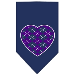 Mirage Pet Products Argyle Heart Purple Screen Print Bandana Navy Blue Small