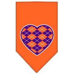 Mirage Pet Products Argyle Heart Purple Screen Print Bandana Orange Small