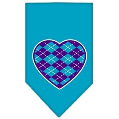 Mirage Pet Products Argyle Heart Purple Screen Print Bandana Turquoise Small