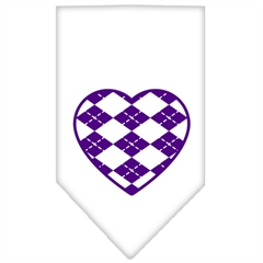 Mirage Pet Products Argyle Heart Purple Screen Print Bandana White Large