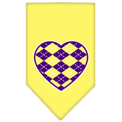 Mirage Pet Products Argyle Heart Purple Screen Print Bandana Yellow Large