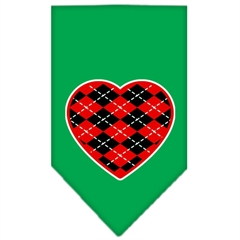 Mirage Pet Products Argyle Heart Red Screen Print Bandana Emerald Green Small