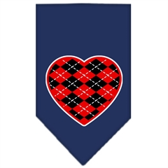 Mirage Pet Products Argyle Heart Red Screen Print Bandana Navy Blue large